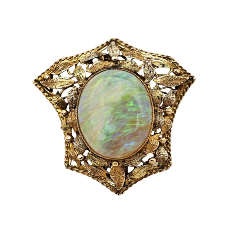 Antique Opal Brooch Pendant in 14Kt Gold Victorian Frame