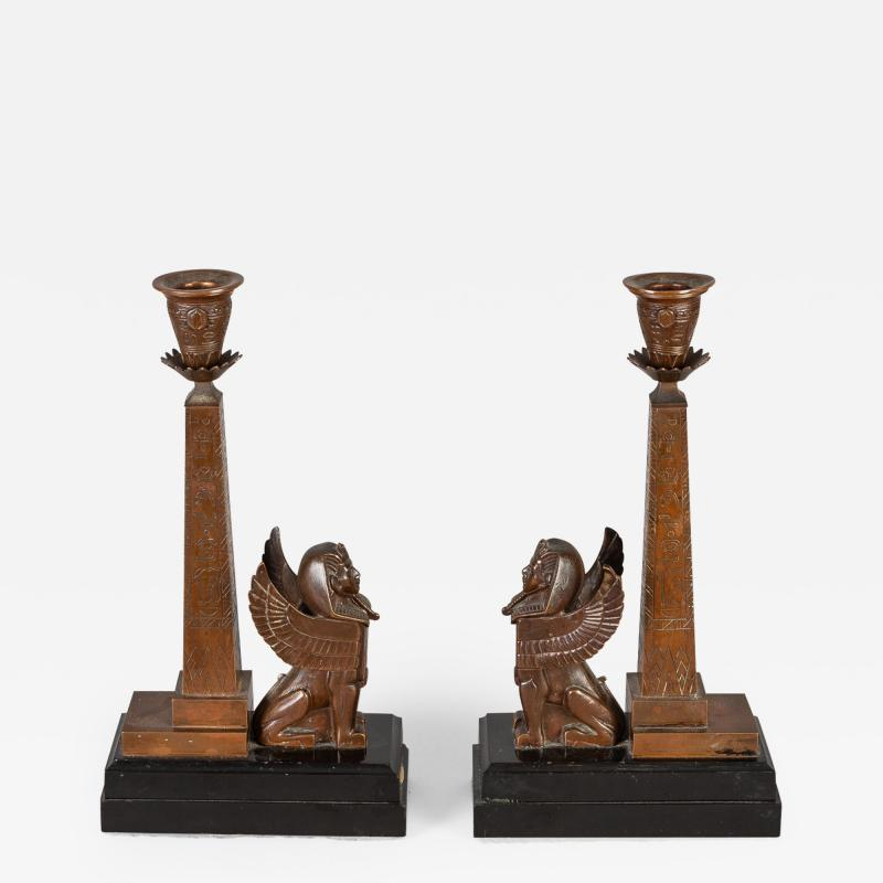 Antique Pair of English Egyptian Revival Candlesticks