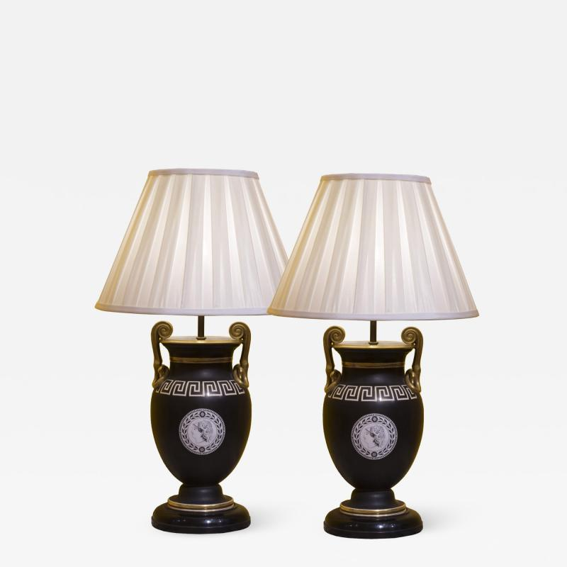 Antique Pair of Greek Revival Table Lamps 19th Century