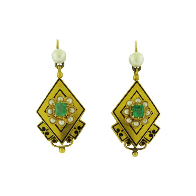 Antique Pearl and Emerald Gold Earrings