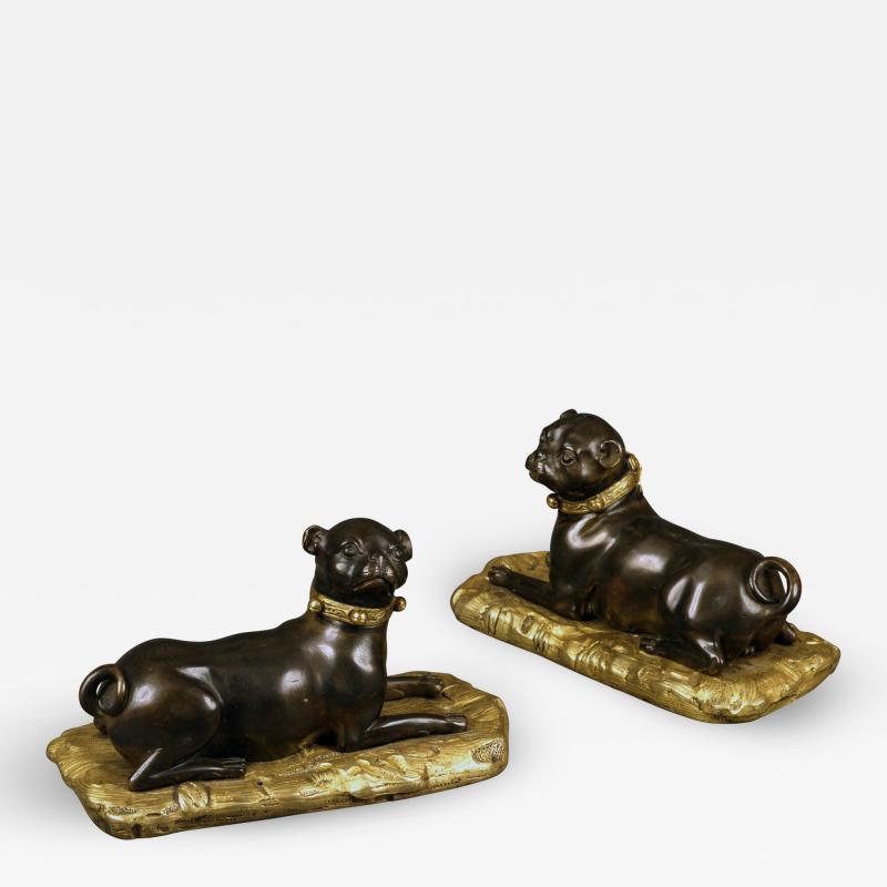 Antique Rare Pair of Sculptural Continental Bronze and Ormolu Pugs 18th Century