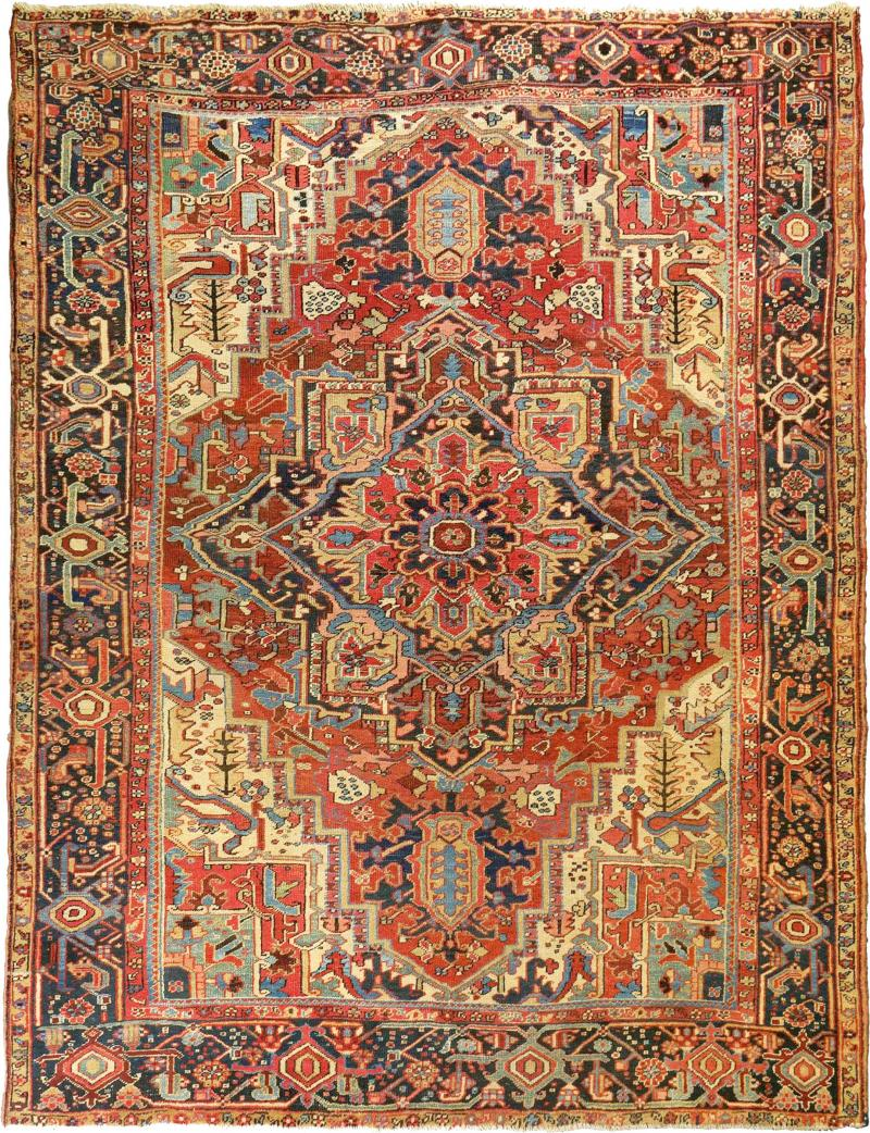 Antique Room Size Heriz Rug w Serapi Colors circa 1910 8 75 x 11 3