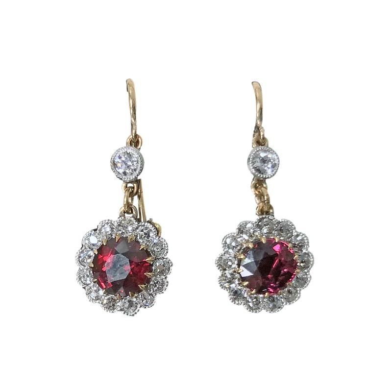 Antique Ruby Diamond Gold Platinum Earrings C 1920