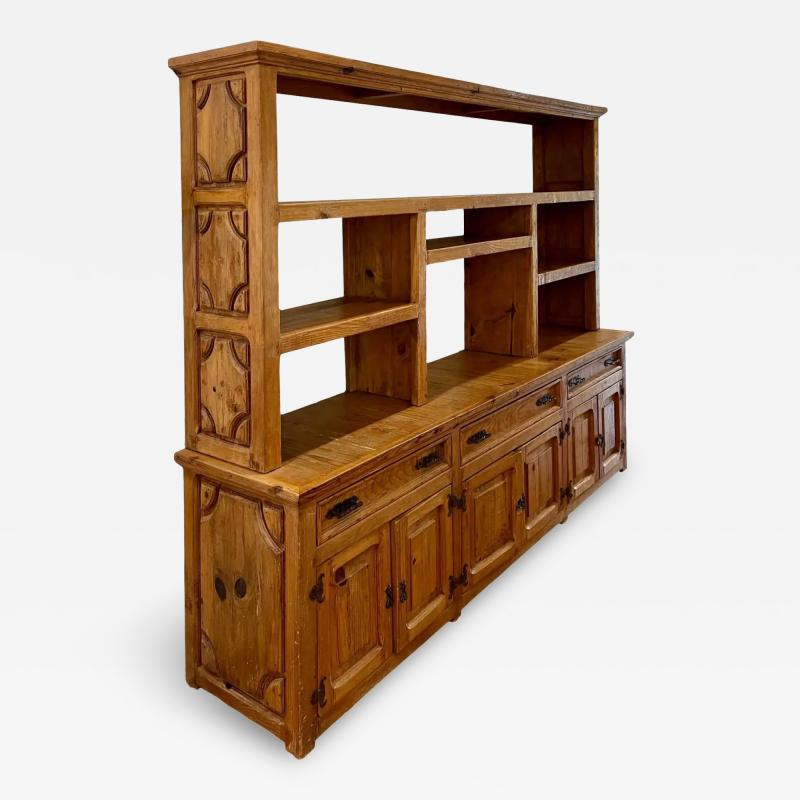 Antique Rustic Pine Breakfront Bookcase Cabinet