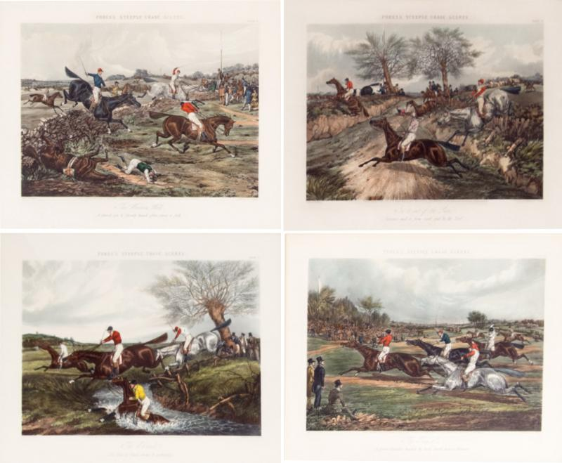 Antique Set of Four Hand Colored Lithographs Forests Steeple Chase