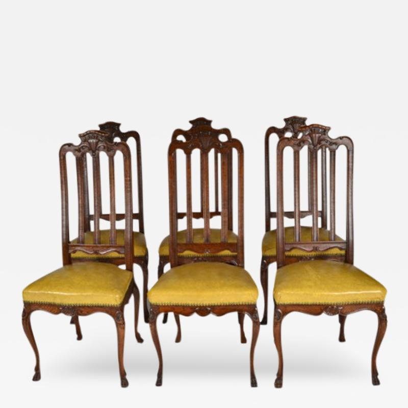 Antique Set of Six Louis XIV Oak Dining Chairs