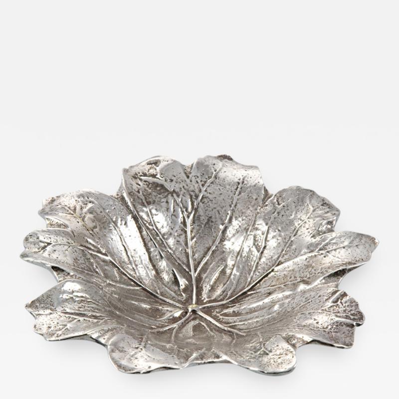 Antique Silver Plate Leaf Form Dish