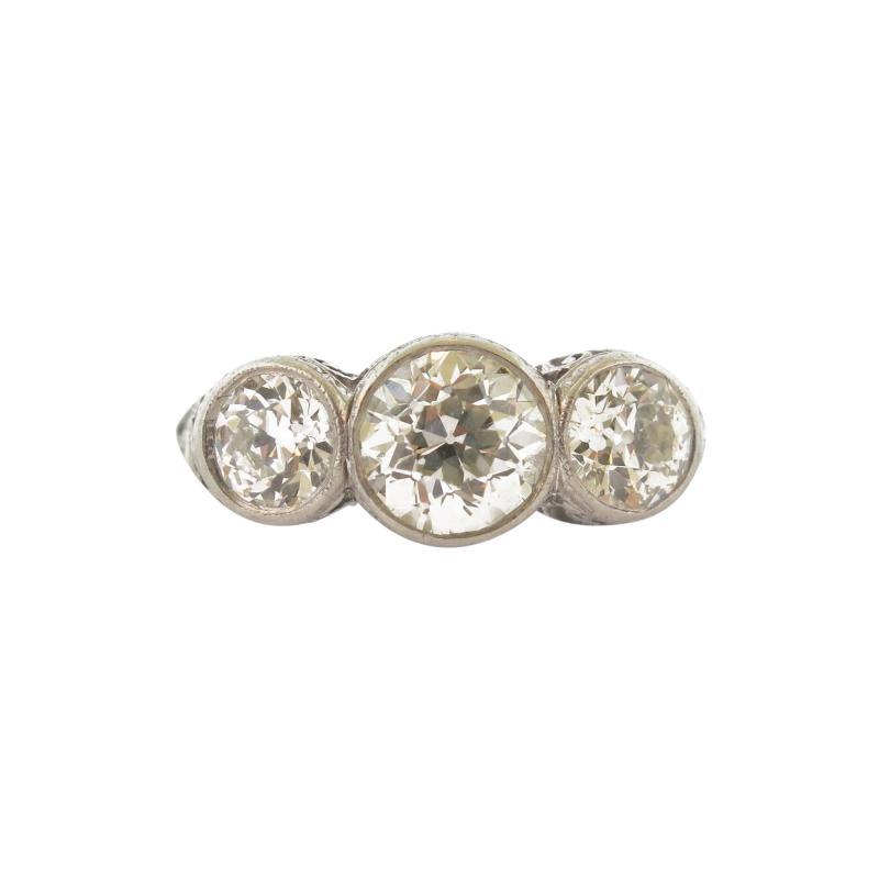 Antique Three Stone Diamond Bezel Set Ring