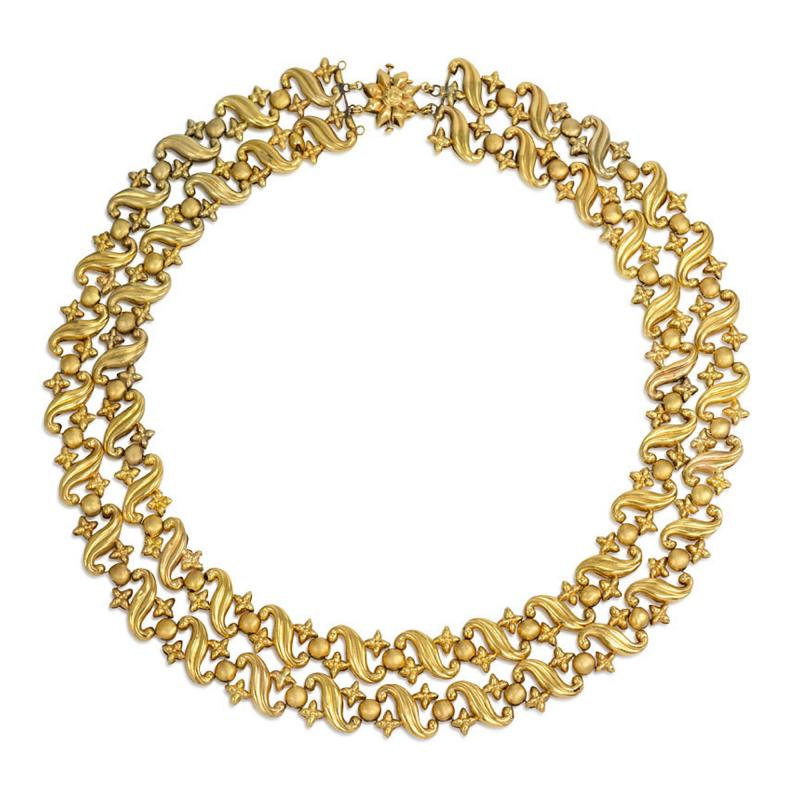Antique Two Row Gold Repouss Link Necklace
