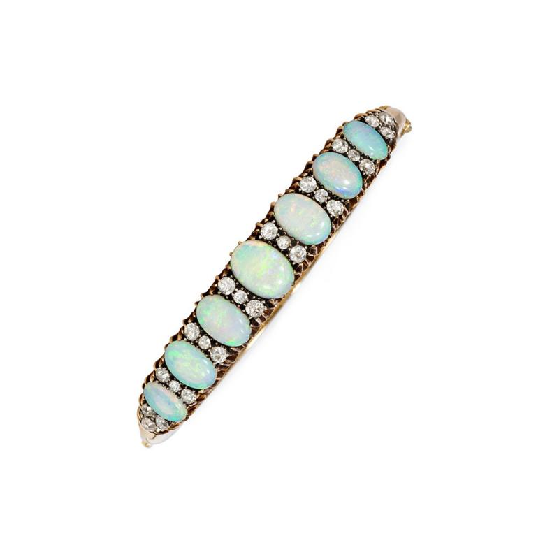 Antique Victorian Gold Opal and Old Mine Diamond Bangle Bracelet