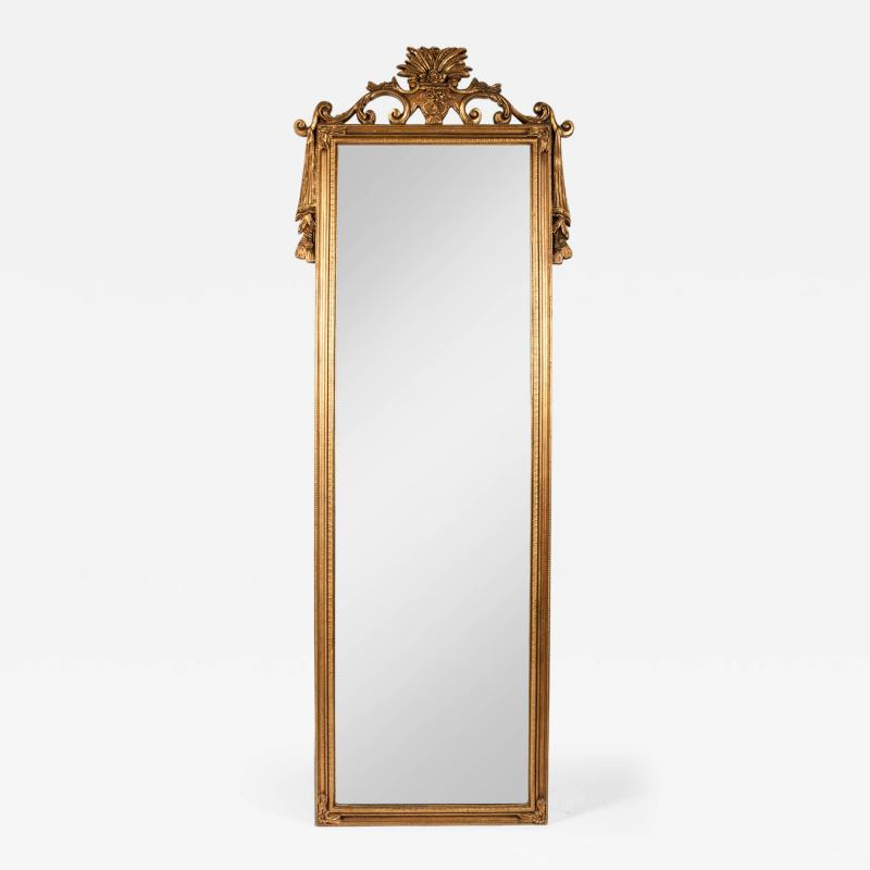 Antique Wood Frame Gilt Hanging Wall Mirror