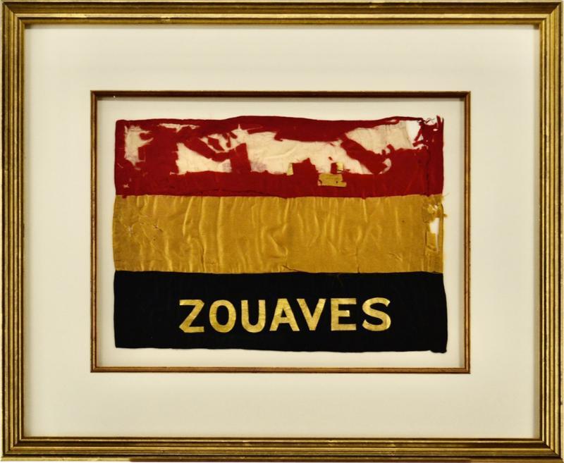 Antique Zouaves Flag Banner Silk Framed