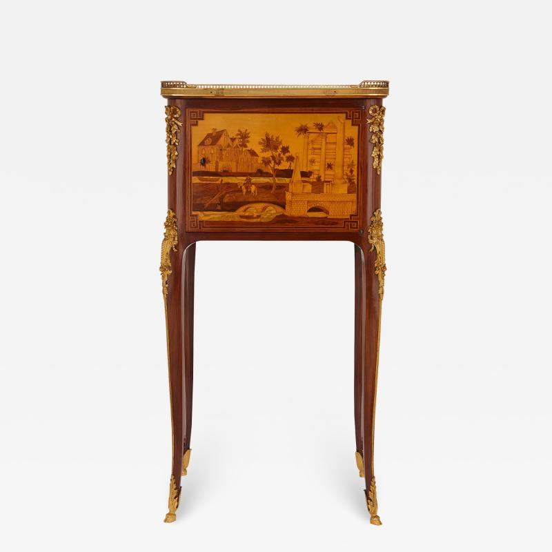 Antique gilt bronze mounted occasional table with marquetry panels