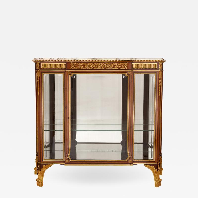 Antique gilt bronze mounted vitrine cabinet