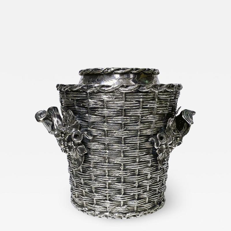 Antique silver plated trompe loeil Wine Cooler Bucket England C 1880