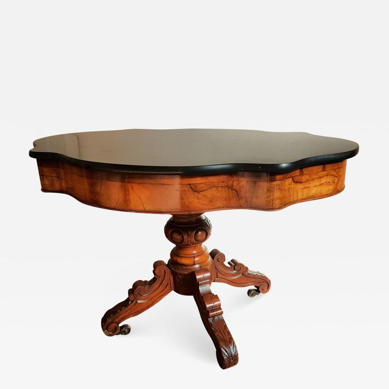 Antique walnut and black marble top table France 1890s