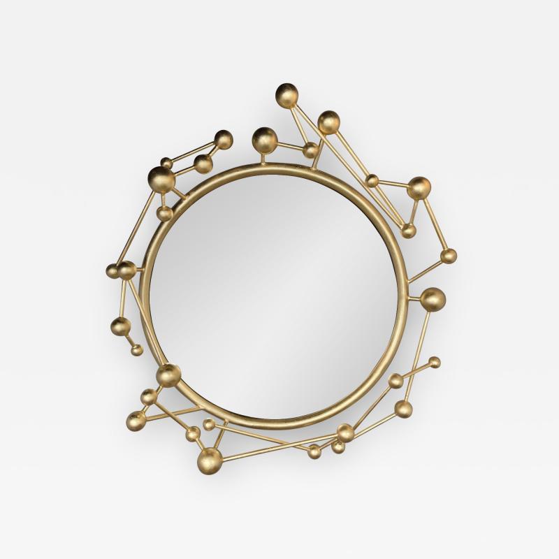 Antonio Cagianelli Contemporary Mirror Atomo Iron Gold Leaf by Antonio Cagianelli Italy