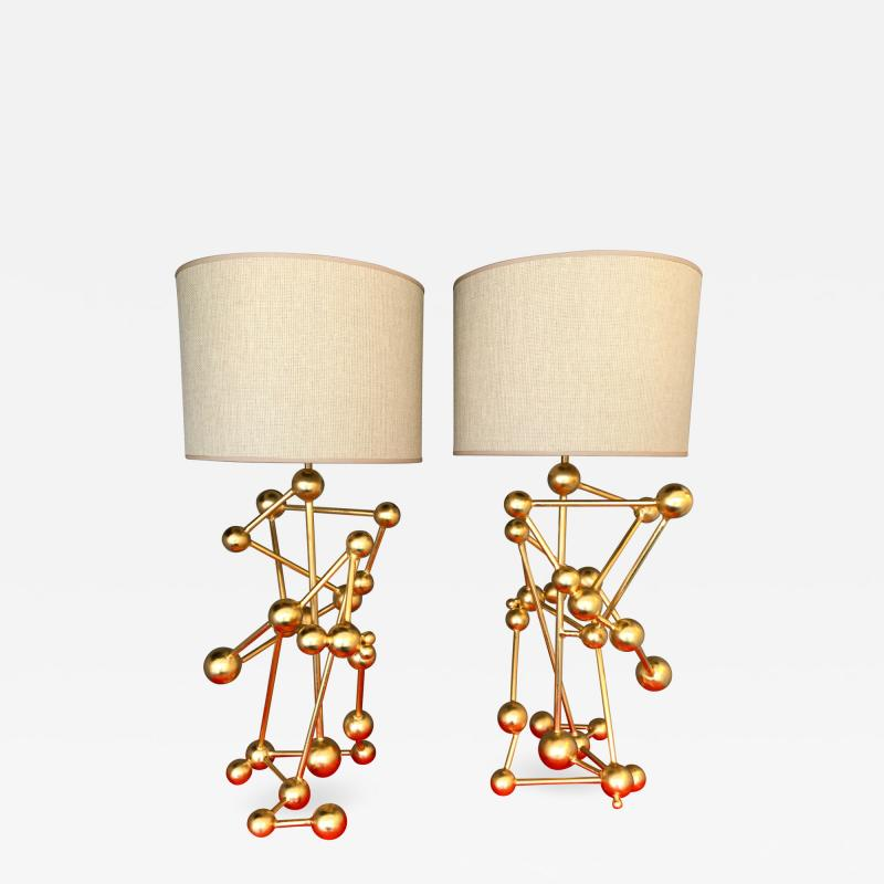 Antonio Cagianelli Contemporary Pair of Lamps Atomic Gold Leaf by Antonio Cagianelli Italy