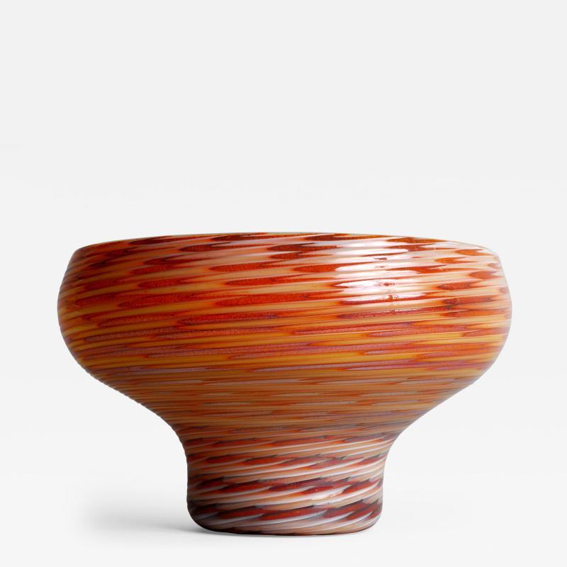 Antonio Da Ros Glass Bowl with Caramel Brown and Yellow Swirl Design