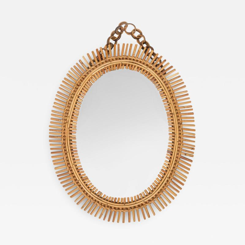 Antonio Dal Vera Figli Wall mirror with bamboo rim Italy 50s