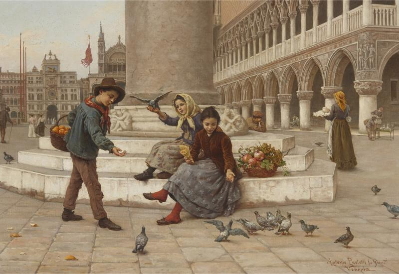 Antonio Ermolao Paoletti Italian oil painting of St Marks Square by Paoletti