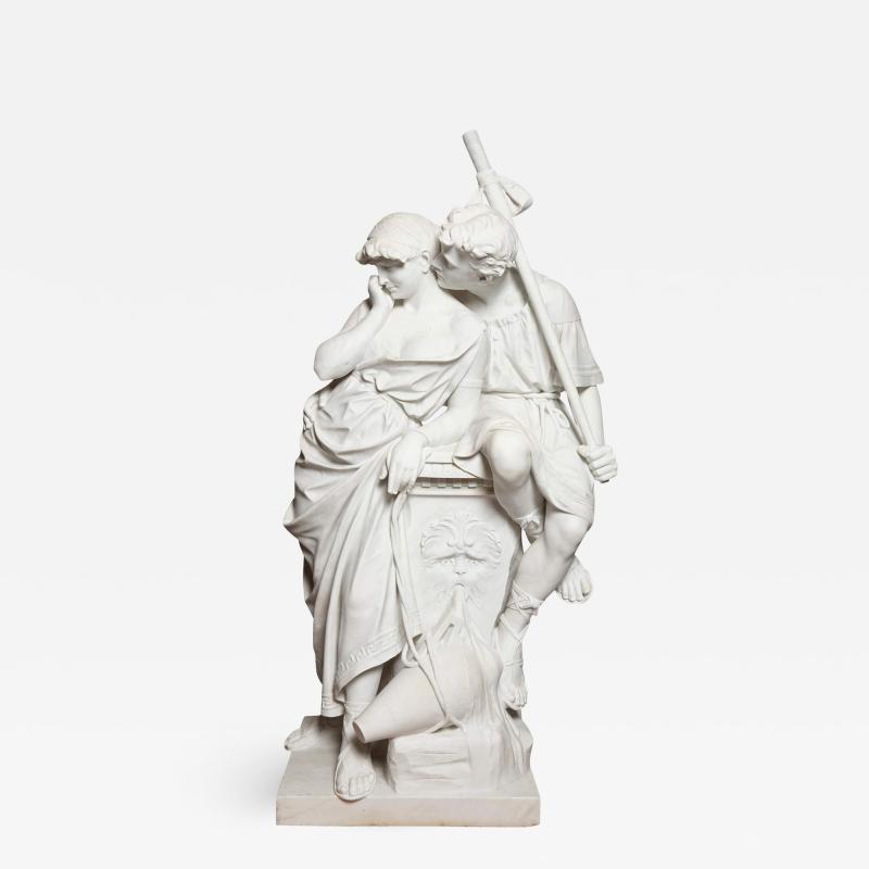 Antonio Frilli Large marble sculpture of an amorous couple by Antonio Frilli