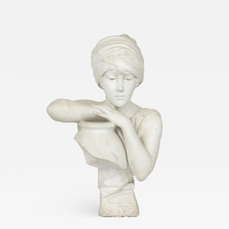 Antonio Piazza Rebecca at the Well Italian Marble Antique Bust Sculpture by Antonio Piazza