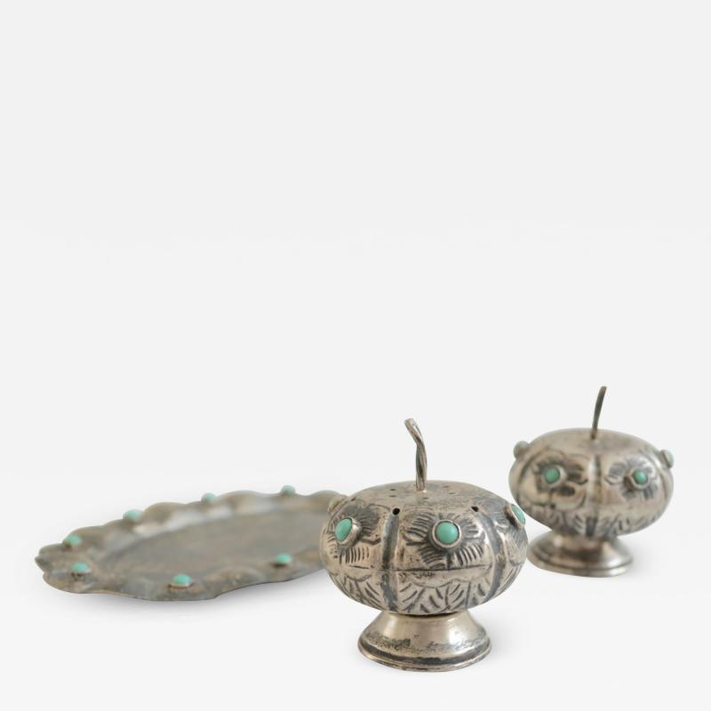 Antonio Pineda Antonio Pineda Salt Pepper Shaker Tray Set Silver Turquoise Fabulous 50s Mexico