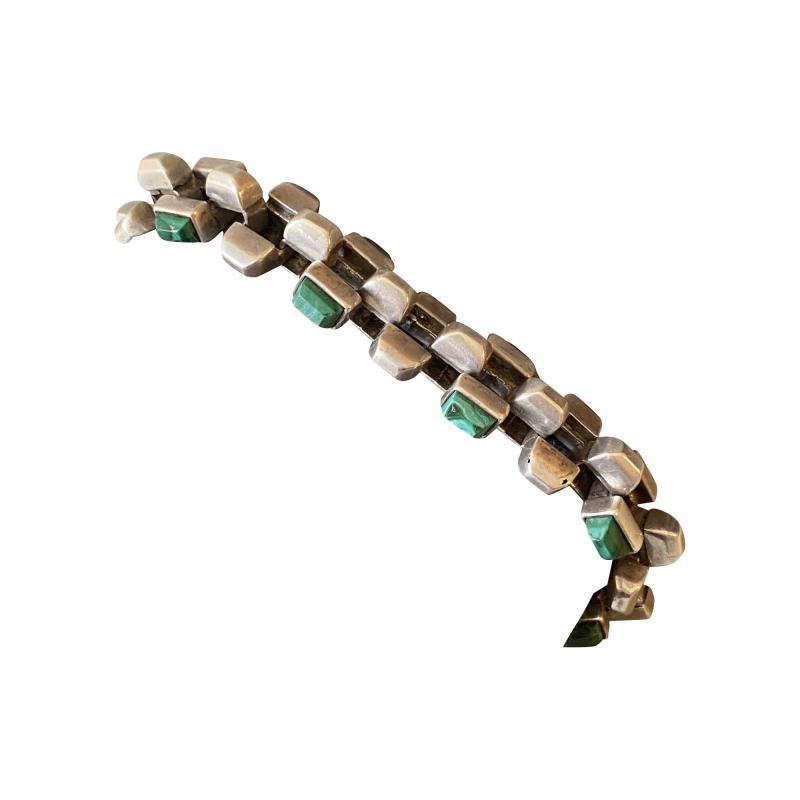 Antonio Pineda Antonio Pineda Sterling Silver and Malachite Bracelet