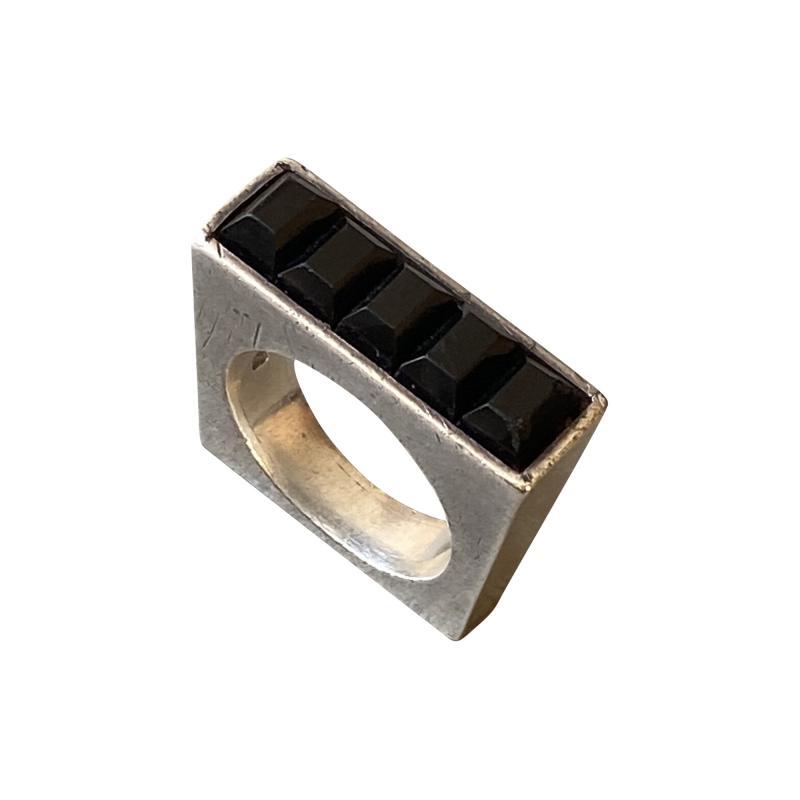 Antonio Pineda Antonio Pineda Sterling Silver and Obsidian Ring