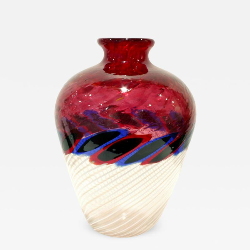 Anzolo Fuga Anzolo Fuga Exceptional Hand Blown Glass Vase with Glass Fragments 1960s