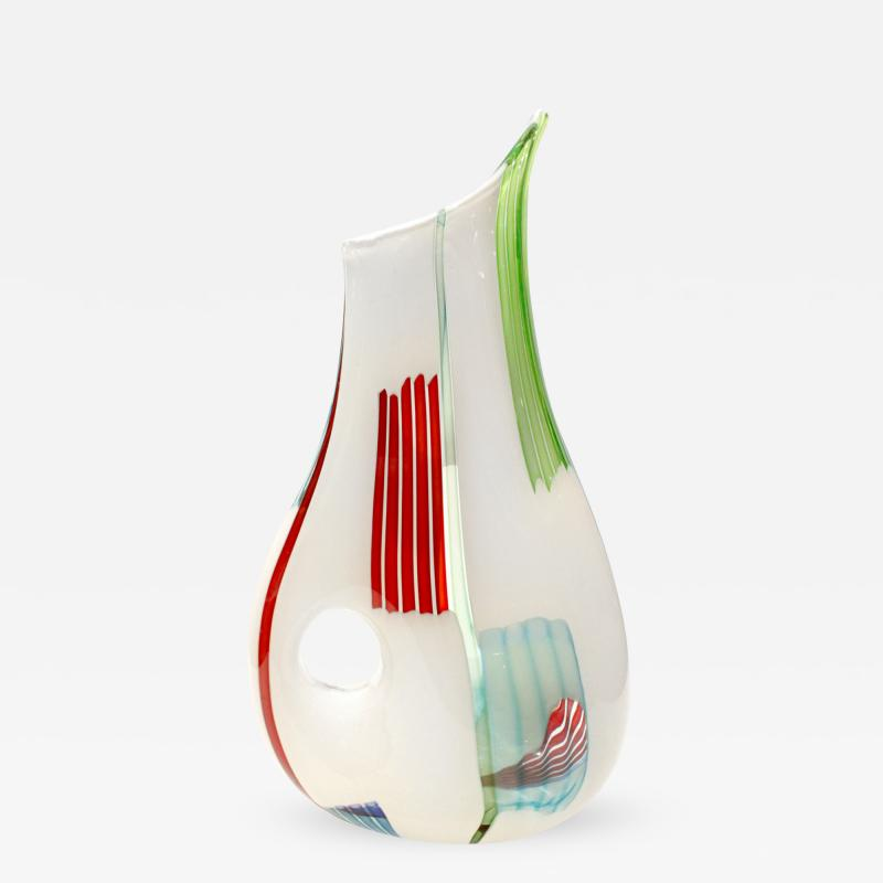 Anzolo Fuga Anzolo Fuga Iconic Bandiere Vase with Multichrome Rods and Hole 1950s
