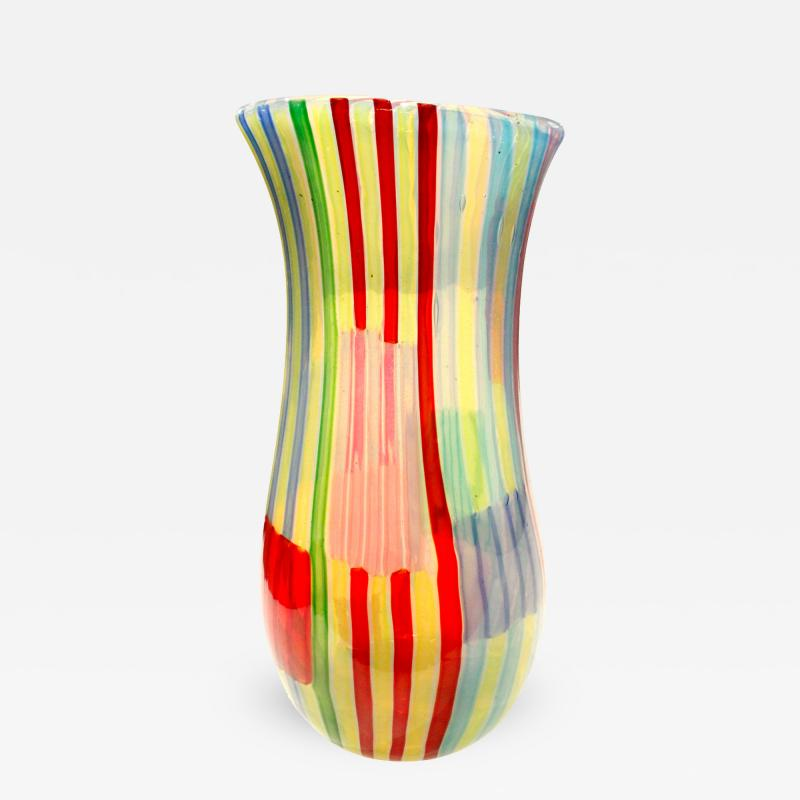 Anzolo Fuga Anzolo Fuga Rare Bandiere Vase with Multicolor Rods 1955 58