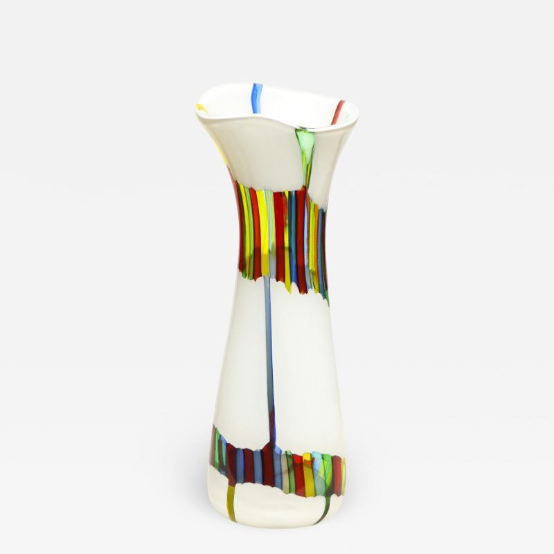 Anzolo Fuga Anzolo Fuga Vase with Multicolor Rods ca 1955