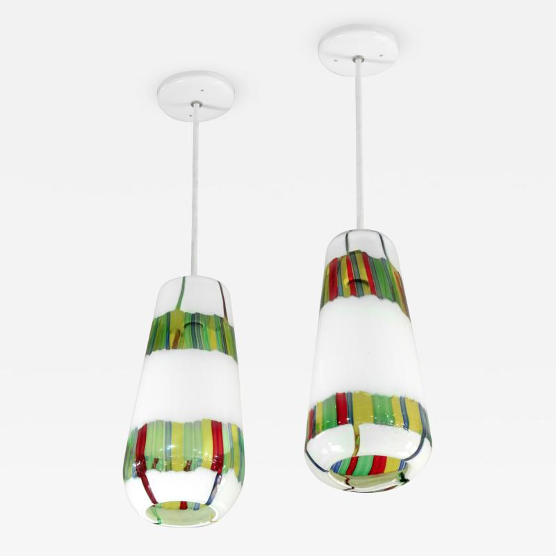 Anzolo Fuga Pair of Hand Blown Glass Bandiere Pendants by Anzolo Fuga