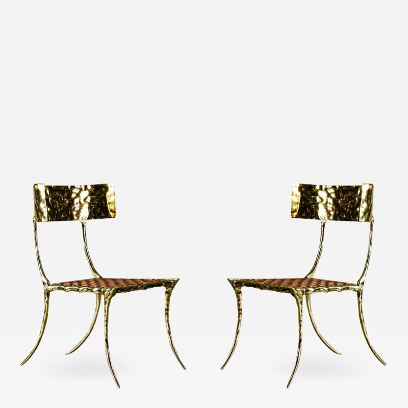Aqua Klismos Brass Chairs
