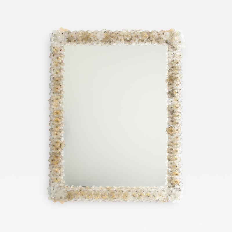 Archimede Seguso Hand Blown Murano Glass 1950s Wall Mirror