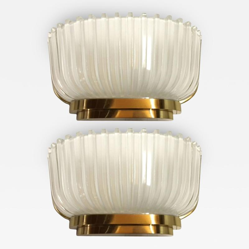 Archimede Seguso Pair of Archimede Seguso Fluted Glass Sconces