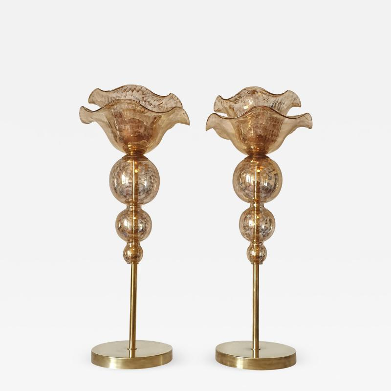 Archimede Seguso Pair of Mid Century Modern flower Murano glass table lamps attributed to Seguso