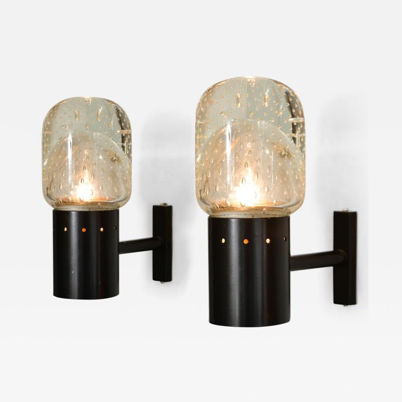 Archimede Seguso Set of two 1950s Italian Seguso bubble wall lights