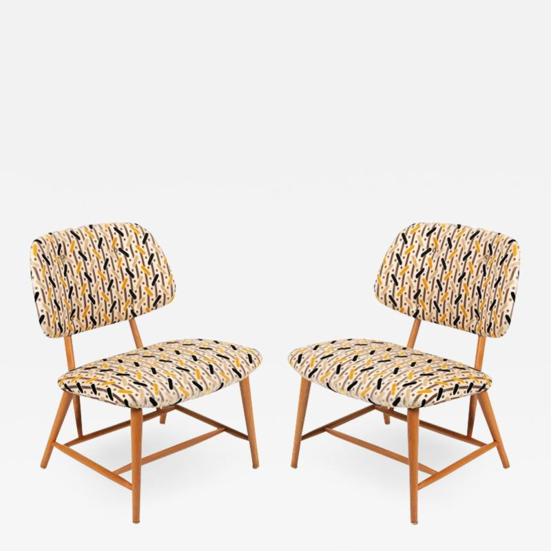 Armless Reupholstered Wood Framed Lounge Chairs
