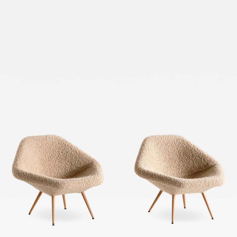 Arne Dahl n Pair of Arne Dahl n Lounge Chairs in Pierre Frey Boucl and Oak Sweden 1960s