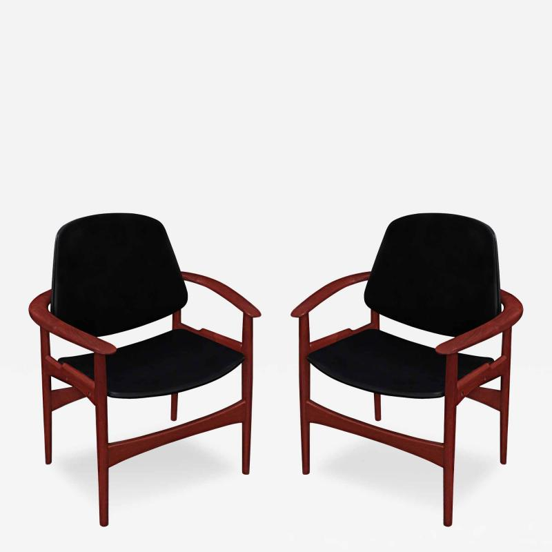 Arne Hovmand Olsen Pair of Arm Chairs in Teak by Arne Hovmand Olsen