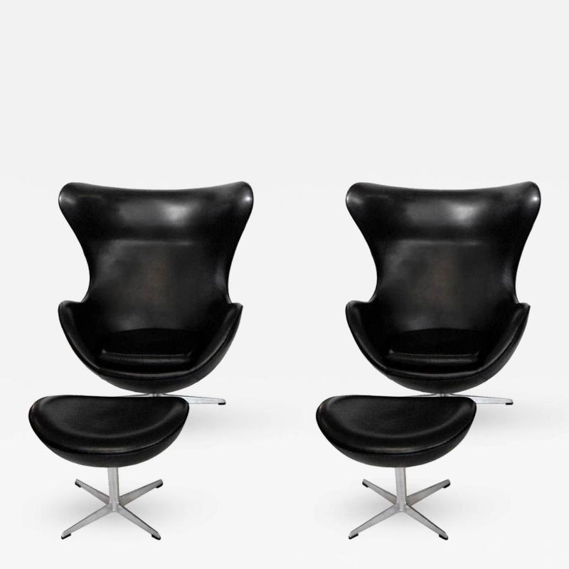 Arne Jacobsen Early Arne Jacobsen Egg Chair w Ottoman Black Leather Pr