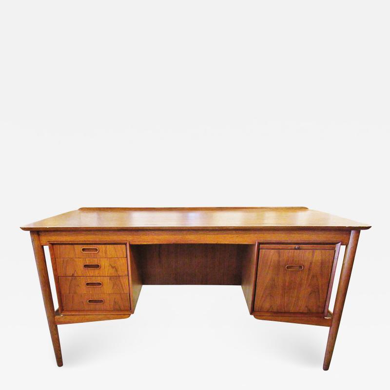 Arne Vodder Danish Modern Teak Desk with Bookcase Back Arne Vodder