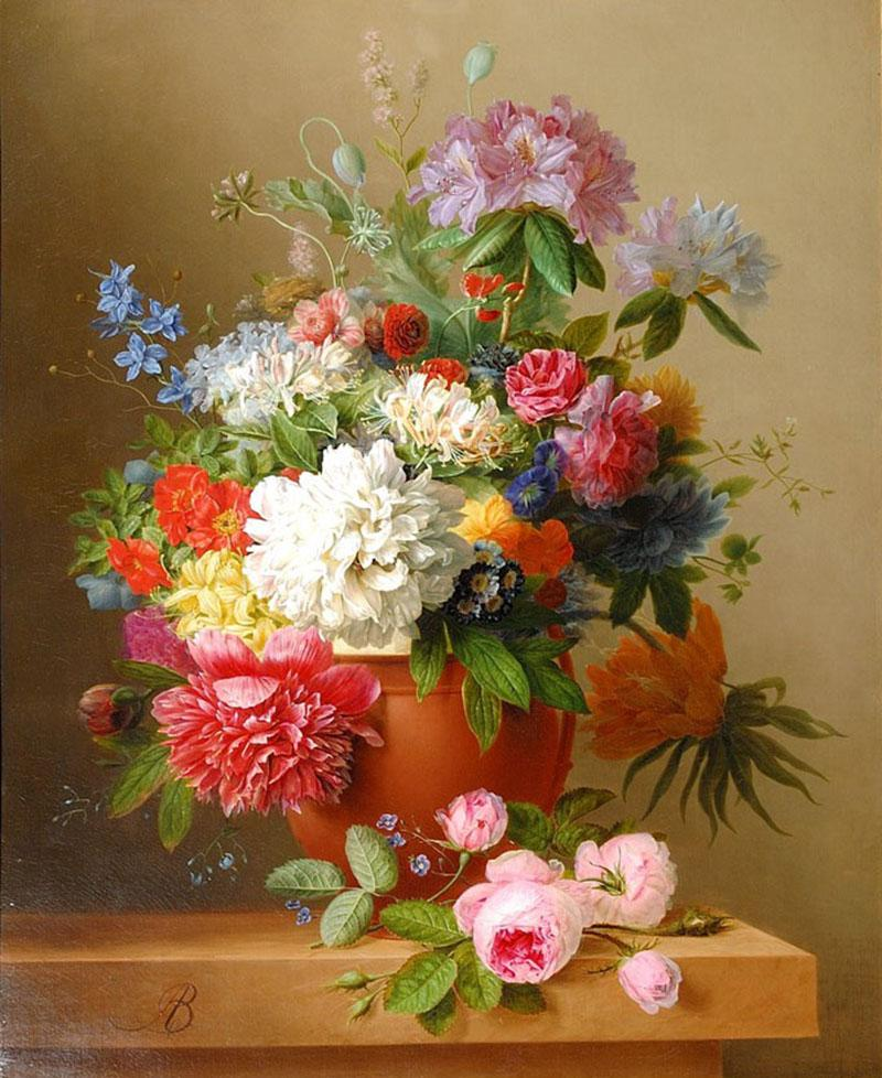 Arnoldus Bloemers Still Life of Peonies Roses Honeysuckle Poppies and other Flowers