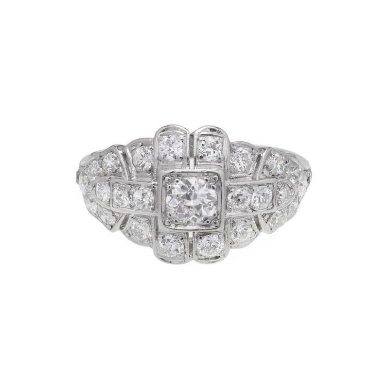Art Deco 31 Carat Diamond Platinum Dome Engagement Ring