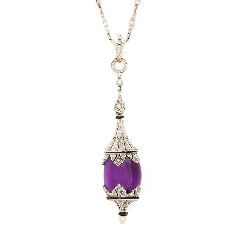 Art Deco Amethyst and Diamond Pendant Necklace