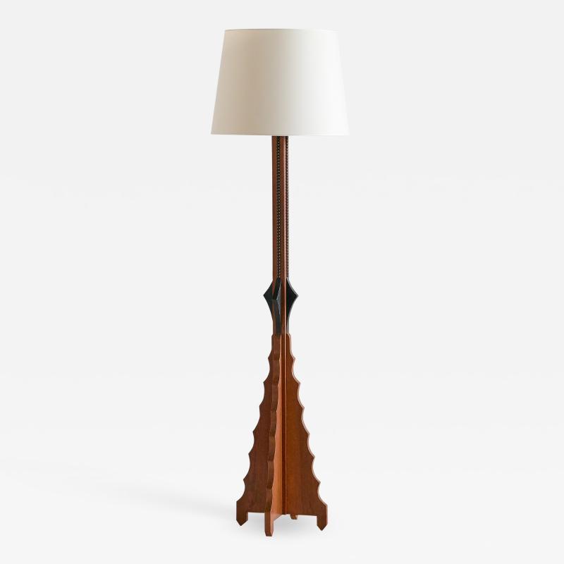 Art Deco Amsterdam School Oak Floor Lamp with Ivory Shade Netherlands 1930s