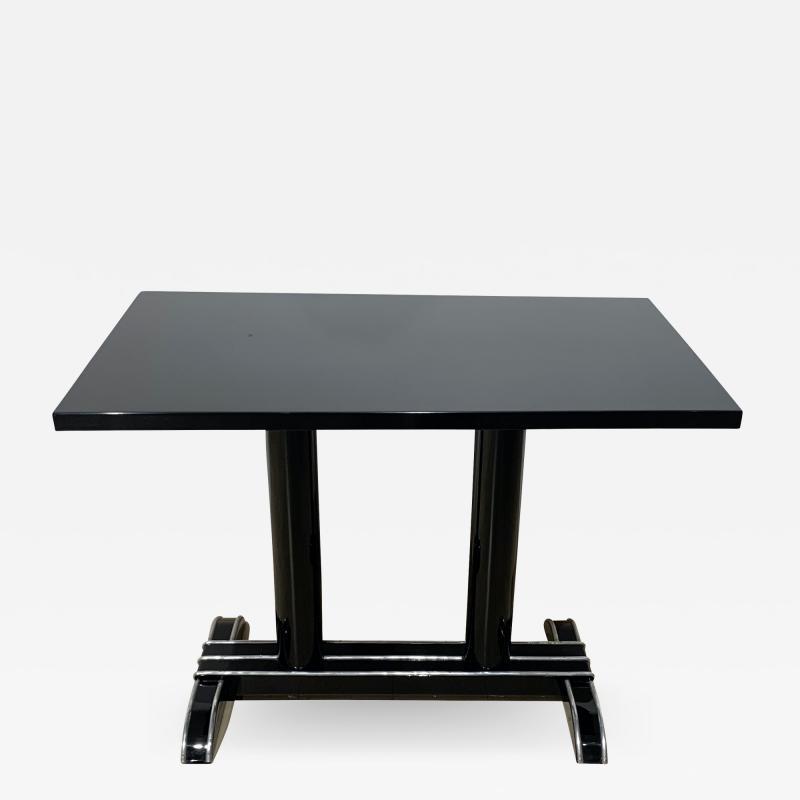 Art Deco Bistro or Side Table Black Lacquer Aluminum Trims France 1930s
